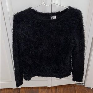 H&M fuzzy black sweater